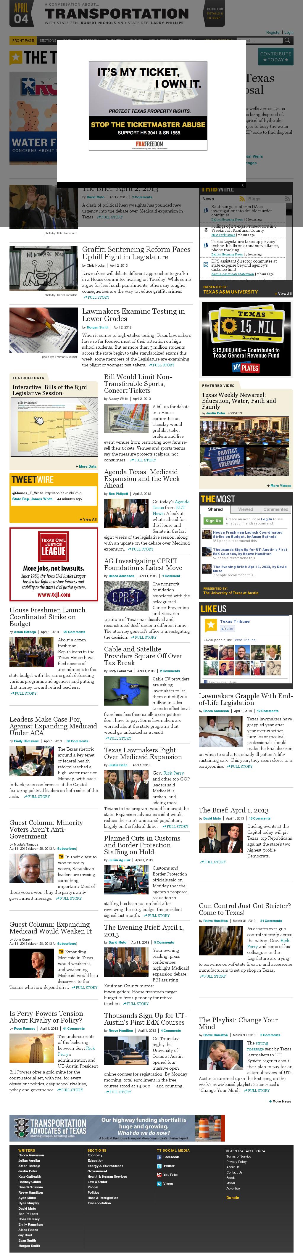 The Texas Tribune at Tuesday April 2, 2013, 12:24 p.m. UTC