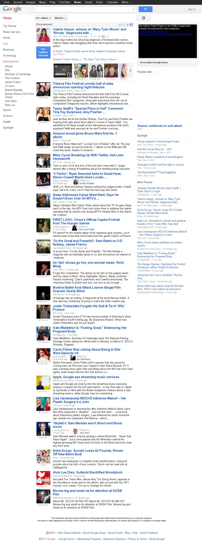 Google News: Entertainment at Thursday March 7, 2013, 2:07 a.m. UTC