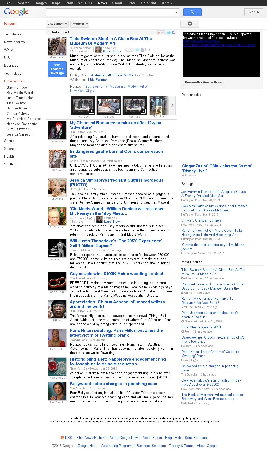 Google News: Entertainment at Sunday March 24, 2013, 9:15 p.m. UTC