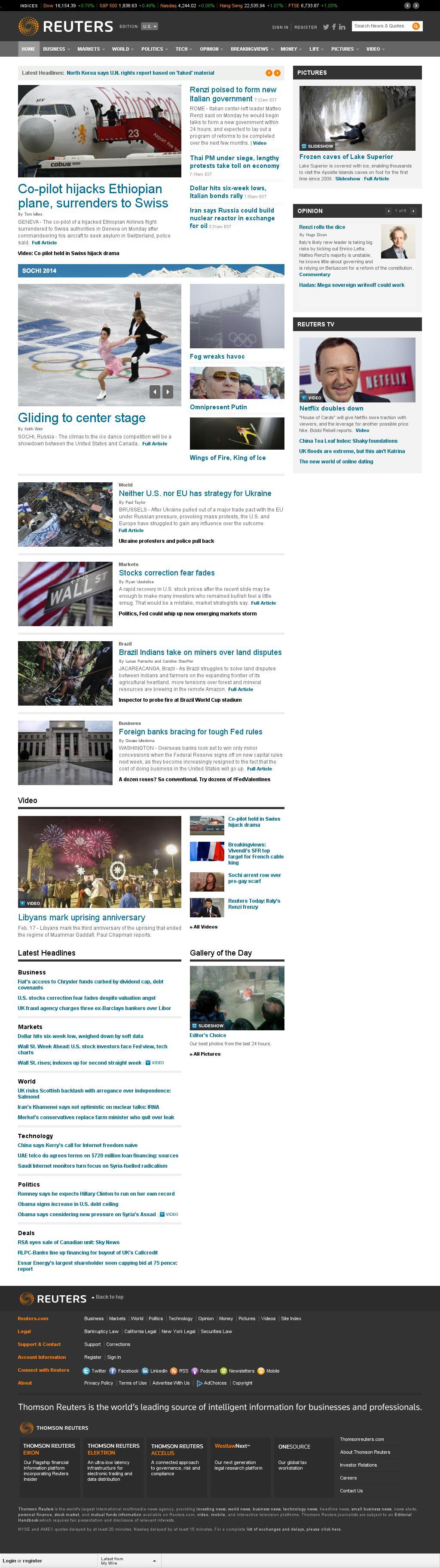 Reuters at Monday Feb. 17, 2014, 1:14 p.m. UTC