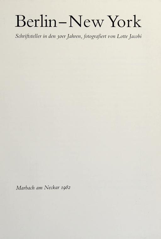 Berlin - New York by Jacobi, Lotte
