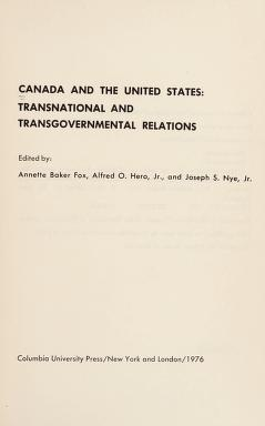 Cover of: Canada and the United States | edited by Annette Baker Fox, Alfred O. Hero, Jr., and Joseph S. Nye, Jr.
