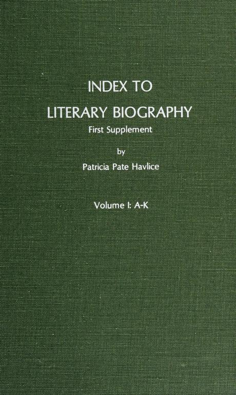 Index to Literary Biography by Patricia Pate Havlice